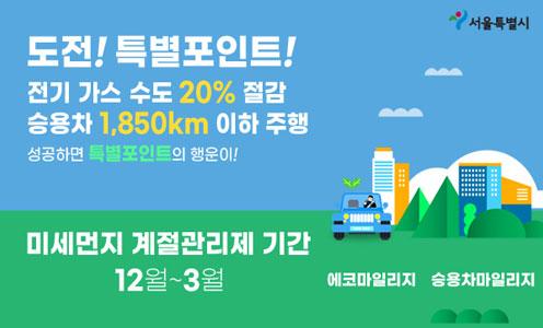 도전! 특별포인트! 전기 가스 수도 20% 절감 승용차 1,850km 이하 주행 성공하면 특별포인트의 행운이! 미세먼지 계절관리제 기간 12월~3월